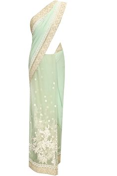 Sea green thread and beads floral embroidered sari with green blouse piece by Sabyasachi.