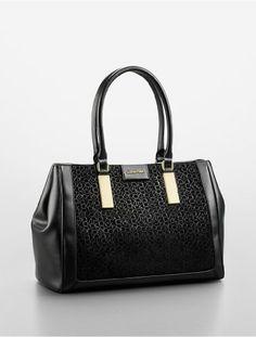 Women's Top-Handle Handbags - Calvin Klein Brynn Suede  Faux Leather Carryall Bag Black * Visit the image link more details.