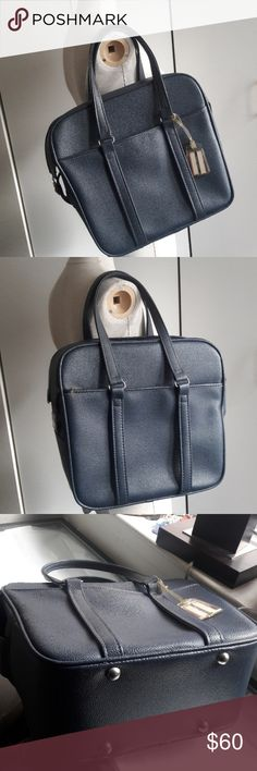 "Vintage Samsonite SILHOUETTE travel carry on bag Please check condition from the pictures. Original luggage tag, no key for lock.  Blue Vinyl is in good condition.   Height 13"" Width 6"" Length 14"" Samsonite Bags Travel Bags"