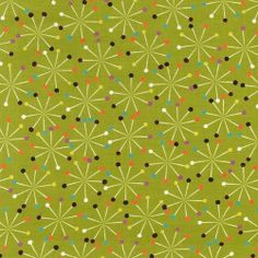 """Pins Star Green"" -  Sewing Fabric Fat Quarter by Michael Miller"