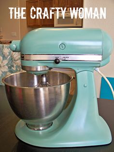 Why didn't I think of this? Genius! She spray painted her old kitchenaid. I'm so going to do this with my old white one!