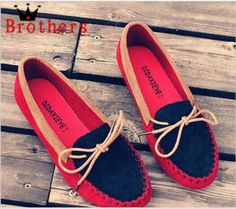 Spring-Boat-Shoes-Flat-Heel-Round-Toe-Gommini-Loafers-Sweet-Flat-Four-Seasons