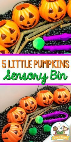 5 Little Pumpkins Halloween Sensory Bin. A fun, hands-on sensory play experience for your little learners. Perfect for a Halloween theme in your #preschool or #prek classroom. #prekpages