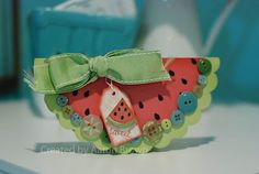 Watermelon Card using CTMH cartridge by Aaron Brown - could use heart confetti punch for seeds