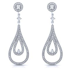 Sterling silver concentric tear drop shaped drop earrings and simulated diamonds by swarovski.   ZE-0263