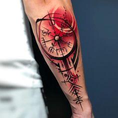 Helm Of Awe Tattoo, Viking Tattoo Symbol, Demon Tattoo, Tattoo On, Body Art Tattoos, Celtic Tattoos, Viking Tattoos, Tatuaje Trash Polka, Tattoo Brazo