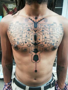 Chest piece followhand style. Machine work by my good friend.  Design layout on my body