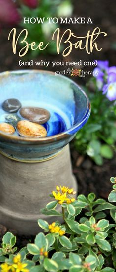 A bee bath is a simple bee water feeder that is easy to make and care for in your home garden, and it's a nice touch to set out for your pollinating guests. Make one yourself easily with this tutorial and the bees will thank you. #gardentherapy  via @garden_therapy