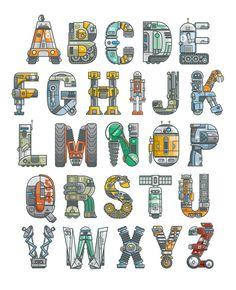 """Robotalphabet"" Alphabet Art by Scott Park in Typography & Graphic Design Fonte Alphabet, Alphabet Design, Alphabet Art, Letter Art, Alphabet Posters, Typography Alphabet, Typography Fonts, Graphic Design Typography, Creative Lettering"
