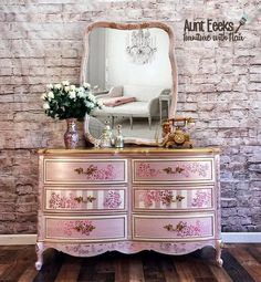 SOLD Elegant pink and gold Dixie dresser with matching mirror image 5 Pink Furniture, Refurbished Furniture, Furniture Projects, Furniture Makeover, Vintage Furniture, Lace Painted Furniture, Dresser Furniture, Porch Furniture, Furniture Removal