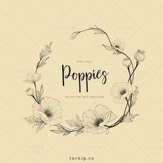 Flower Frame Png, Flower Circle, Floral Tattoo Design, Flower Tattoo Designs, Wreath Tattoo, Framed Tattoo, Circle Drawing, Poppy Wreath, Poppies Tattoo