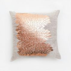 Lucky Fish Copper Evil Eyes Pillow  Symbols of Eastern iconography and nature-inspired designs are hand-printed in vivid hues. Maintaining the artisanal craft of hand silkscreen printing, each pillow is made from raw linen in Brooklyn.