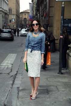 Dsquared denim shirt, Mawi bag, Nina Ricci skirt, Sergio Rossi pumps, sunnies by Thierry Larsy and necklace by Akong London.