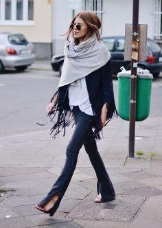 F ri n g e s: Amei esta inspiração de look, franjas e cachecol, muito lindo.