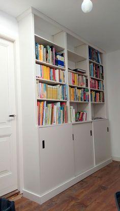 Full height built-in bookcase from IVAR units – IKEA Hackers – Garage Organization DIY Office Furniture Design, Space Saving Furniture, Bookshelves Built In, Built Ins, Bookcases, Bookshelf Plans, Kallax, Ikea Hacks, Chinoiserie