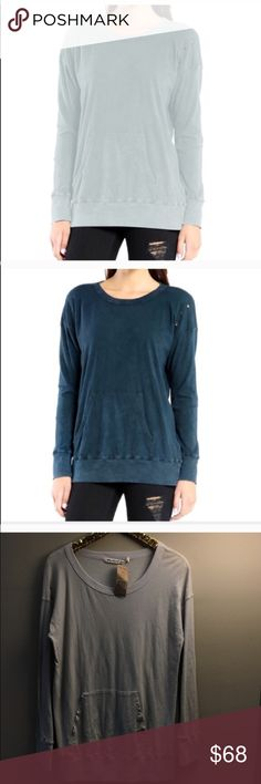 "Michael Stars DISTRESSED TUNIC KANGA FRONT POCKET Michael Stars DISTRESSED TUNIC, KANGA FRONT POCKET Worn in Tee 100% Cotton Machine Wash Cold With Like Colors. Tumble Dry Low Made In The USA Model is 5'9"" wearing size OS (one-size) intentionally distressed with holes near shoulders/arms and pocketed area. Michael Stars Tops Tees - Long Sleeve"