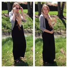 Maxi dresses are an easy maternity outfit!  Tart maxi dress - $5.00 (thrift) Costa Blanca cardigan - $3.00 (thrift) Scarf - $3.00 (thrift) Bandolino sandals - $5.00 (thrift)  Total cost = $16.00