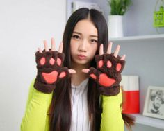 Fluffy Cat Paw Fingerless Gloves