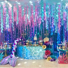 2 pcs Under The Sea & Little Mermaid Baby Shower Party Decorations - Roll It Baby Mermaid Theme Birthday, Little Mermaid Birthday, Little Mermaid Parties, Birthday Party Themes, 7th Birthday, Mermaid Themed Party, Birthday Ideas, Mermaid Baby Showers, Baby Mermaid