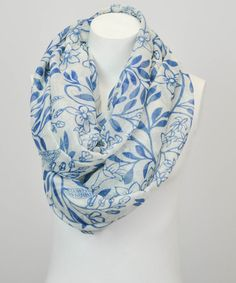 Jen's Pick! Look what I found on #zulily! Ivory & Blue Floral Infinity Scarf by Leto Collection #zulilyfinds