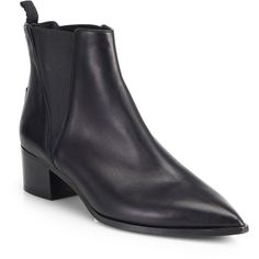 Acne Studios Jensen Leather Ankle Boots (5.275 ARS) ❤ liked on Polyvore featuring shoes, boots, ankle booties, apparel & accessories, black, black pointed toe booties, leather booties, black boots, leather boots and pointed toe booties