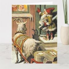 Swedish Christmas, Christmas Art, Christmas Greetings, Vintage Christmas Cards, Holiday Cards, Vintage Cards, Norway Landscape, Elves And Fairies, Holiday Postcards