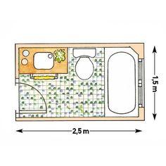 Plano de baño rectangular con bañera