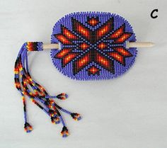 Lakota Sioux Hand Beaded Stick barrette (With my hair longer, I'd like to fine something like this.)