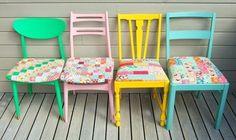 Vintage Stühle bunt streichen-neue polstersitzbezüge mit patchwork-dessin