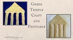 While studying Ancient Greek history, I found an easy and fun craft. Here are the directions for a Greek temple craft and printable. #homeschooling #ancientgreece