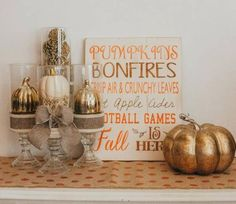 15 Fall Dollar Tree D.'s: Glam Edition! - This Fall or Halloween tablescape is made up of items for Dollar Tree. You can use similar items form your local discount store Items used – 3 vases 4 candle holders Raffia, Pumpkins (or any … Dollar Tree Halloween, Dollar Tree Fall, Dollar Tree Decor, Halloween Candles, Dollar Tree Crafts, Diy Halloween, Fall Mantle Decor, Fall Decorations, Seasonal Decor