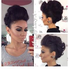 Get that edgy vibe with this fierce faux mohawk up do hairstyle for your next night out. Discover the essentials used for inspiration.
