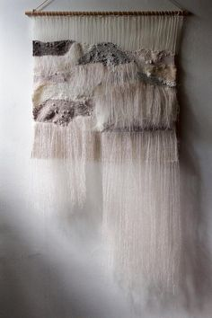 SOLD - Woven Wall Hanging: Tapestry Weaving in Neutrals with Hand Dyed Wool Yarn, Natural Linen Thre