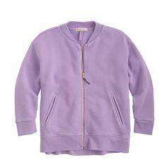J.Crew+-+Girls'+three-quarter+sleeve+bomber+sweater