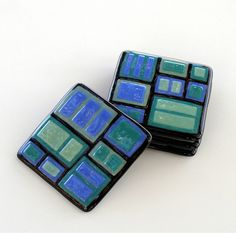 Fused Glass Coaster Set - 4 Coasters, Blue, Green, Teal and Black Geometric Shapes by GreenhouseGlassworks