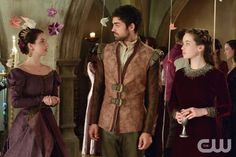 """Reign -- """"Sins of the Past"""" -- Image Number: RE213a_0308.jpg -- Pictured (L-R): Adelaide Kane as Mary, Queen of Scotland and France, Sean Teale as Conde and Anna Popplewell as Lola -- Photo: Ben Mark Holzberg/The CW -- © 2015 The CW Network, LLC. All rights reserve"""