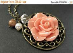 EASTER SALE Peach Rose Charm Necklace. Rose Necklace. Gemstone Necklace. Flower Necklace. Handmade Jewelry. by StumblingOnSainthood from Stumbling On Sainthood. Find it now at http://ift.tt/1R4Acef!