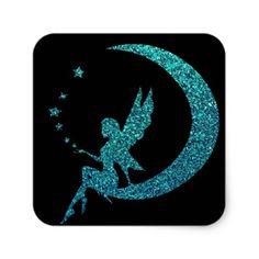 Glitter Moon Fairy Square Sticker - glitter glamour brilliance sparkle design idea diy elegant