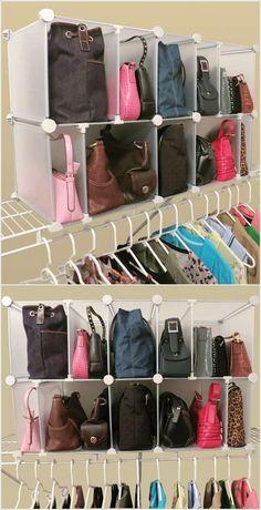 Handbag storage ideas: http://www.organizeit.com/park-a-purse-organizer-modular.asp