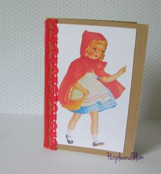 Vintage card. Little Red Riding Hood, red lace by PurpleandPlumcrafts on Etsy