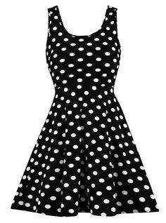 Stretchy Polka Dot Dress in Black