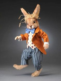 *R. JOHN WRIGHT COLLECTIBLE DOLLS ~ The March Hare 15 inches, LE/250 - $985 prices subject to change  kmalone@dollery.com  - Early 2009  Mohair plush; Fully jointed; Hand painted leather eyes; Felt & cotton costume; Built-in metal stand
