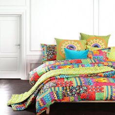 88 x 88 Kess InHouse Nina May Palisades Multicolor Cotton Queen Duvet Cover