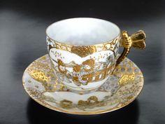 Kato Shunko Japan Tea cup with dragonfly handle. Asian Tea Sets, Teapots And Cups, Teacups, Royal Albert, Vintage Tea, Vintage China, Antique Tea Cups, China Tea Cups, Tea Service