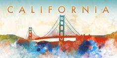 Dan Meneely Poster Print Wall Art Print entitled California Gate, None Wall Prints, Poster Prints, Golden Gate Bridge, California, Travel, Painting, Design, Dan, Viajes