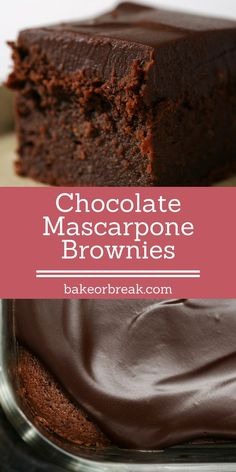 Chocolate Mascarpone Brownies are so delicious, rich, and decadent. A must for chocolate lovers! - Bake or Brea Mascarpone Brownies are so delicious, rich, and decadent. A must for chocolate lovers! - Bake or Break Brownie Recipes, Cake Recipes, Dessert Recipes, Homemade Chocolate, Chocolate Desserts, Chocolate Lovers, Chocolate Brownie Cake, Peppermint Chocolate, Homemade Snickers