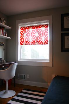 """""""short"""" curtain made with fabric remnant, tension rod, and clips... love this idea!"""