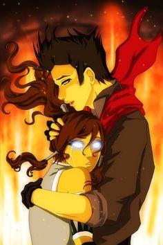 Korra & Mako from The Legend of Korra- This has to happen, Mako has to calm Korra down like Katara calmed down Aang!