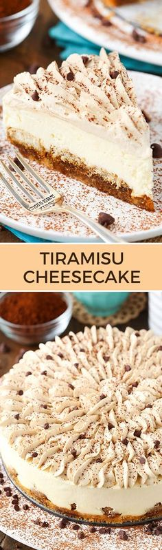 Tiramisu Cheesecake! Layers of ladyfingers, mascarpone filling and Kahlua whipped cream!: