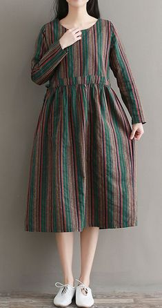 Women loose fit plus over size dress stripes long sleevei tunic fashion trendy Casual Party Dresses, Party Dresses For Women, Simple Dresses, Dress Casual, Striped Dress Outfit, Kurta Designs, Kurti Designs Party Wear, Hijab Stile, Moda Casual